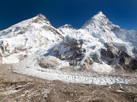 icefall: View of Mount Everest, Lhotse and Nuptse from Pumo Ri base camp - way to Mount Everest base camp - Sagarmatha national park - Nepal Stock Photo