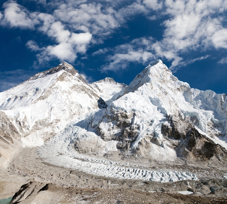 ri: View of Mount Everest, Lhotse and Nuptse from Pumo Ri base camp