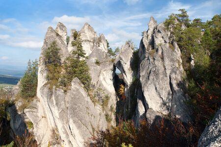 lithic: Mountain window in Sulovske Skaly rockies in slovakia