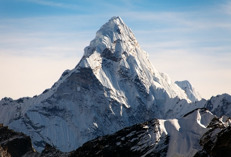 mountain range: Evening view of Ama Dablam on the way to Everest Base Camp - Nepal Stock Photo