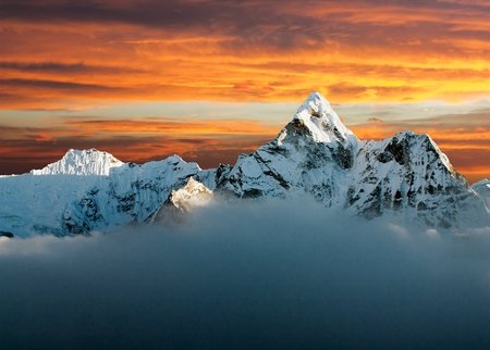 eventide: Evening view of Ama Dablam on the way to Everest Base Camp - Nepal Stock Photo