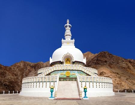 shanti: Tall Shanti Stupa near Leh, Ladakh, Jammu and Kashmir, India Stock Photo