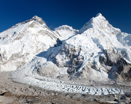 View of Mount Everest Lhotse and Nuptse from Pumo Ri base camp  way to Mount Everest base camp  Sagarmatha national park  Nepal Stock Photo