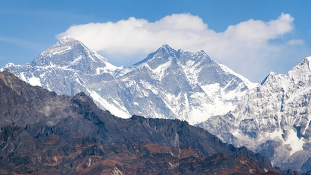 mount everest: View of Mount Everest from Pikey peak  Nepal