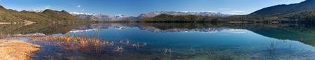 tal: panoramic view of Rara Daha or Mahendra Tal Lake  Rara trek  West Nepal Stock Photo