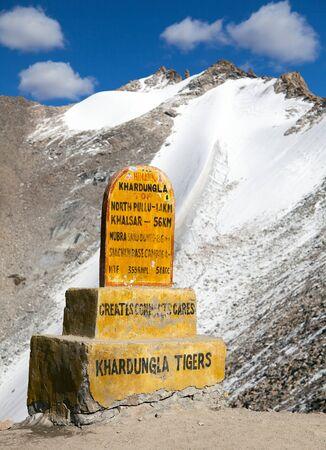 Khardung la  the highest road automobile asphalt pass on the world  Ladakh  Jammu and Kashmir  India Stock Photo