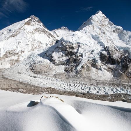 ri: View of Mount Everest Lhotse and Nuptse from Pumo Ri base camp  way to Mount Everest base camp  Sagarmatha national park  Nepal Stock Photo