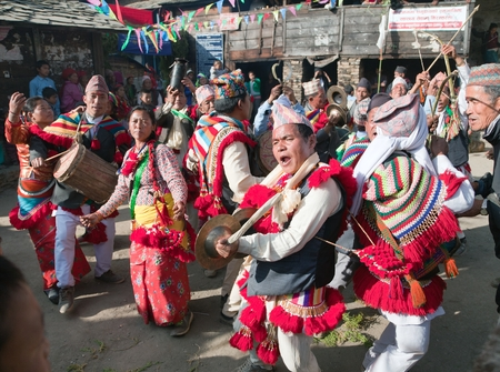 ethnical: KHIJI PHALANTE NEPAL 6TH DECEMBER 2014  Traditional ethnical festival people dancing and playing on drums
