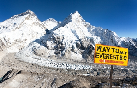 signpost way to mount everest b.c. and Mount Everest Lhotse and Nuptse from Pumo Ri base camp  way to Mount Everest base camp  Nepal
