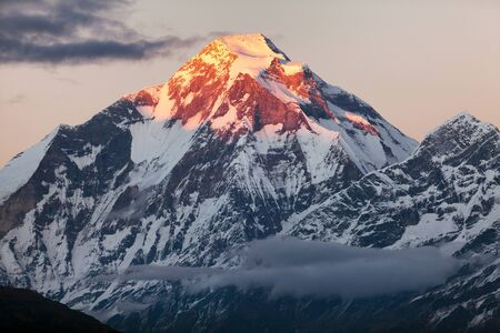 mountain snow: Evening panoramic view of mount Dhaulagiri  Nepal Stock Photo