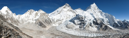 icefall: Beautiful view of mount Everest Lhotse and nuptse from Pumo Ri base camp  way to Everest base camp  Nepal Stock Photo