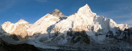 eventide: Panoramic evening view of Mount Everest from Kala Patthar  way to Everest base camp  Nepal