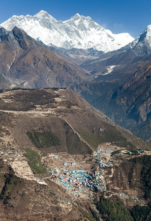 bazar: view of Mount Everest Lhotse and Namche Bazar from Kongde  Sagarmatha national park  Nepal