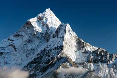 mountain valley: beautiful view of mount Ama Dablam  way to Everest base camp  Nepal