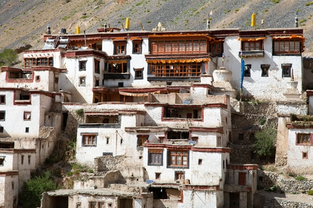 gompa: Lingshed Lingshet Lingshot gompa  buddhist monastery in Zanskar valley  Ladakh  Jammu and Kashmir  India Stock Photo