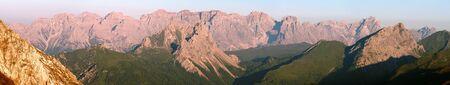 panoramatic: morning view from Karnische Alpen or Alpi Carniche to Sextener Dolomiten or Dolomiti di Sesto