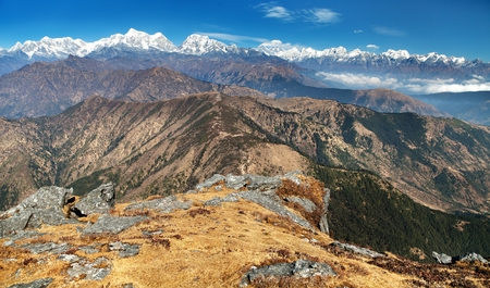 bazar: Panoramic view of himalayas range from Pikey peak  trek from Jiri Bazar to Everest base camp  Nepal Stock Photo