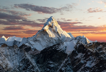 mountains and sky: Evening view of Ama Dablam on the way to Everest Base Camp  Nepal