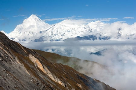 panoramatic: view from Thorung la pass Annapurna himal to Mount Dhaulagiri  Dhaulagiri himal  Nepal