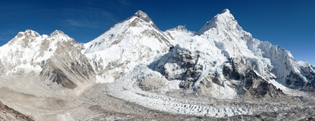 mountain valley: Beautiful view of mount Everest Lhotse and nuptse from Pumo Ri base camp  way to Everest base camp  Nepal Stock Photo