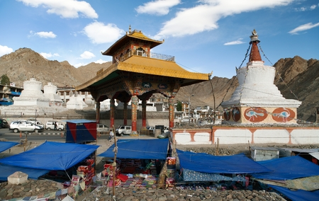 stupas: Stupas bazaar and Friendship Gate in Leh  Ladakh  Jammu and Kashmir  India