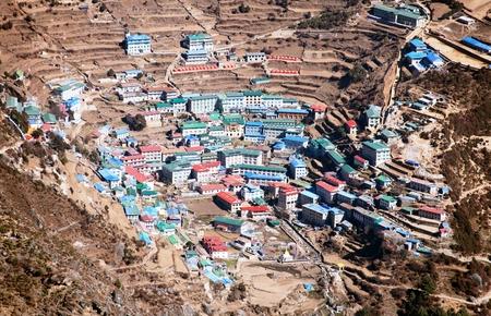 tibetan house: Namche Bazar  Sagarmatha national park  Khumbu valley  way to Everest base camp  Nepal Stock Photo