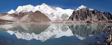 mirroring: view of Cho Oyu mirroring in lake  Cho Oyu base camp  Everest trek  Nepal