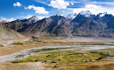 side job: View of Zanskar valley around Padum village and great himalayan range  Ladakh Jammu and Kashmir India Stock Photo