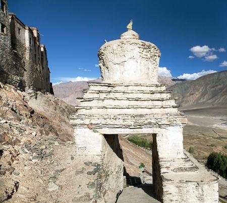 gompa: Stupa in Karsha gompa  buddhist monastery in Zanskar valley  Ladakh  Jammu and Kashmir  India