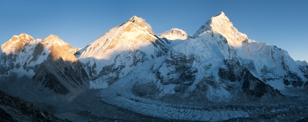 ri: Panoramic view of Mount Everest Lhotse and Nuptse from Pumo Ri base camp  way to Mount Everest base camp  Nepal