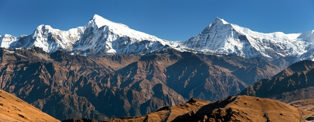 guerrilla: View of Putha Churen Himal and Dhaulagiri Himal - Dhaulagiri VI - Guerrilla trek - western Nepalese Himalayas Stock Photo