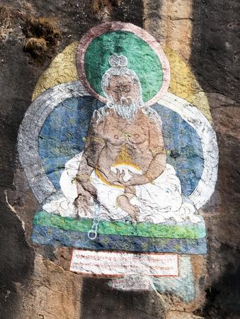 hinduist: THAME, NEPAL, 23th NOVEMBER 2014 - Buddhist picture near Thame village, three passes trek, Khumbu valley, Sagarmatha national park, Nepal