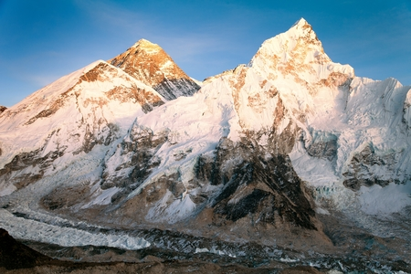 mount: Evening view of Mount Everest from Kala Patthar - way to Everest base camp - sagarmatha national park - Nepal