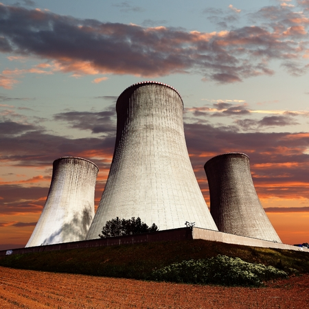 dukovany: Evening colored view of cooling tower - Nuclear power plant Dukovany Stock Photo