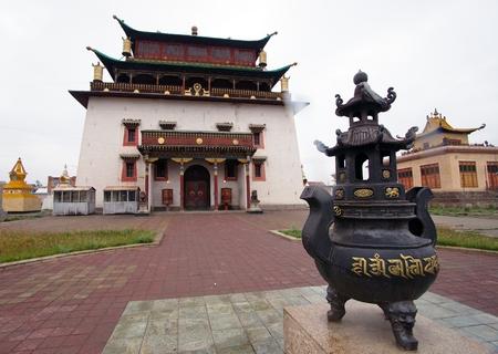 ancient philosophy: Temple Megdzhid-Dzhanrayseg on the territory of the Buddhist monastery Gandantekchinling Gandan in Ulaanbaatar, mongolia