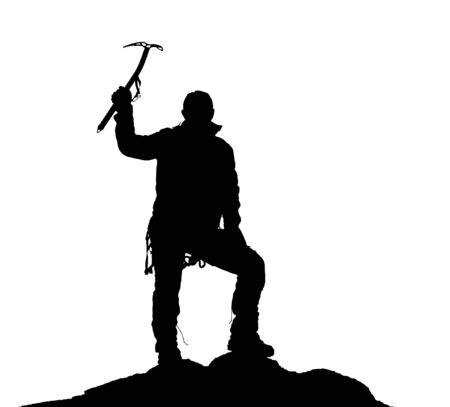 ice axe: black silhouette of climber with ice axe in hand on the white background