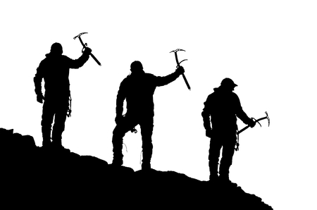 ice axe: black silhouette of three climbers with ice axe in hand on the white background