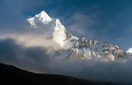 eventide: beautiful view of mount Ama Dablam - way to Everest base camp, Khumbu valley, Solukhumbu, Sagarmatha national park Nepal