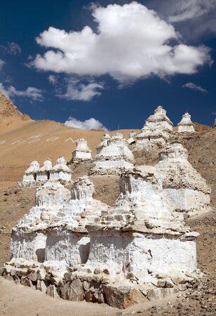 himalaya: View of stupas around Leh - Ladakh - India Stock Photo