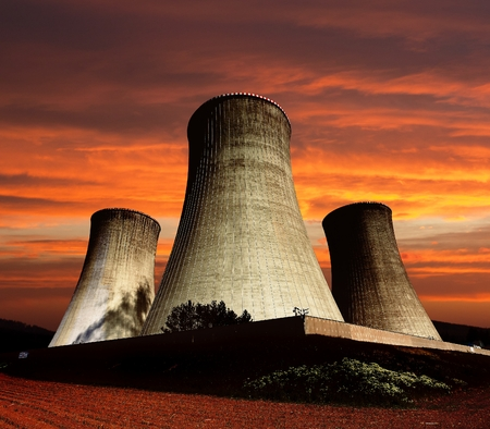 dukovany: Evening colored view of cooling tower - Nuclear power plant Dukovany Editorial