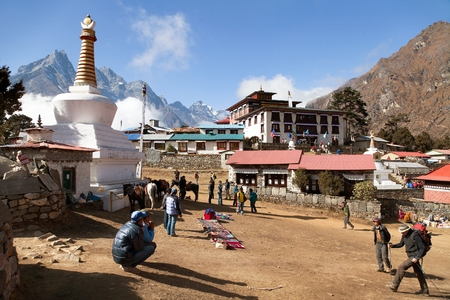 mani: View of Tengboche monastery with stupa and prayer mani wall, Khumbu valley, Sagarmatha national park, Nepal Editorial