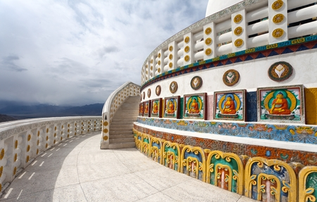 indian culture tradition: View of part of Tall Shanti Stupa near Leh - Jammu and Kashmir - Ladakh - India Stock Photo