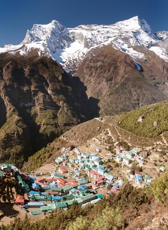 bazar: Namche Bazar and mount Kongde - Sagarmatha national park - Khumbu valley - way to Everest base camp - Nepal