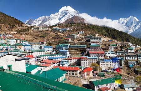 View of Namche bazar and mount thamserku - way to everest base camp, Khumbu valley, Sagarmatha national park, Solukhumbu, Nepal