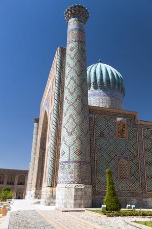 registan: View of Sher Dor Medressa - Registan - Samarkand - Uzbekistan Editorial