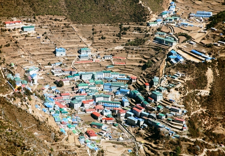 bazar: Namche Bazar - Sagarmatha national park - Khumbu valley - way to Everest base camp - Nepal