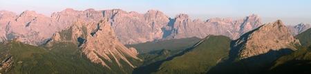 morning view from Karnische Alpen or Alpi Carniche to Sextener Dolomiten or Dolomiti di Sesto