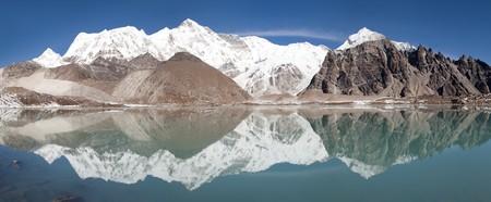 mirroring: view of Cho Oyu mirroring in lake - Cho Oyu base camp - Everest trek - Nepal Stock Photo