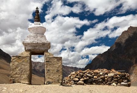 gompa: View of stupa in Zanskar valley near Karsha gompa, ladakh, Jammu and Kashmir, India