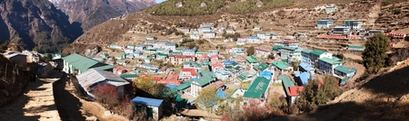 bazar: panoramatic view of Namche Bazar village - trek to Everest base camp - Nepal Stock Photo